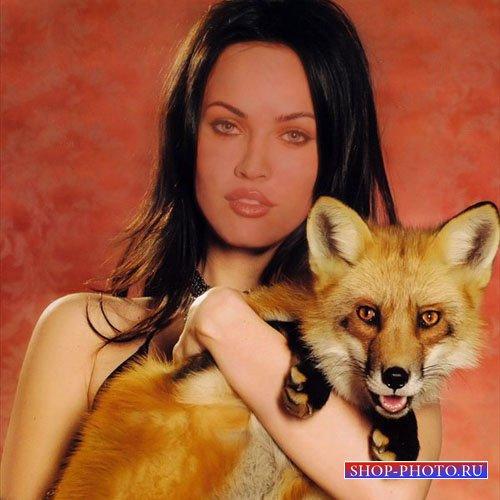 Шаблон psd женский - Фотография с лисицей