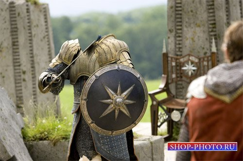 Шаблон psd - Битва воина в доспехах