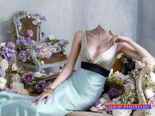 Шаблон для фотошопа - В роскошном платье между цветов