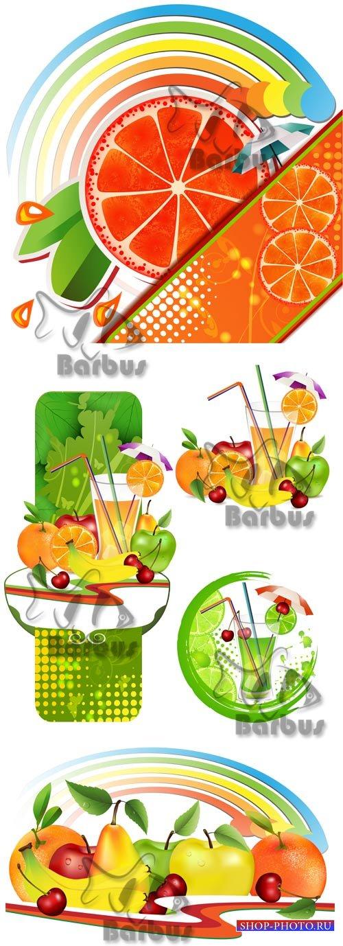 Fresh fruit and juice / Свещие сочные фрукты и напитки - Vector stock