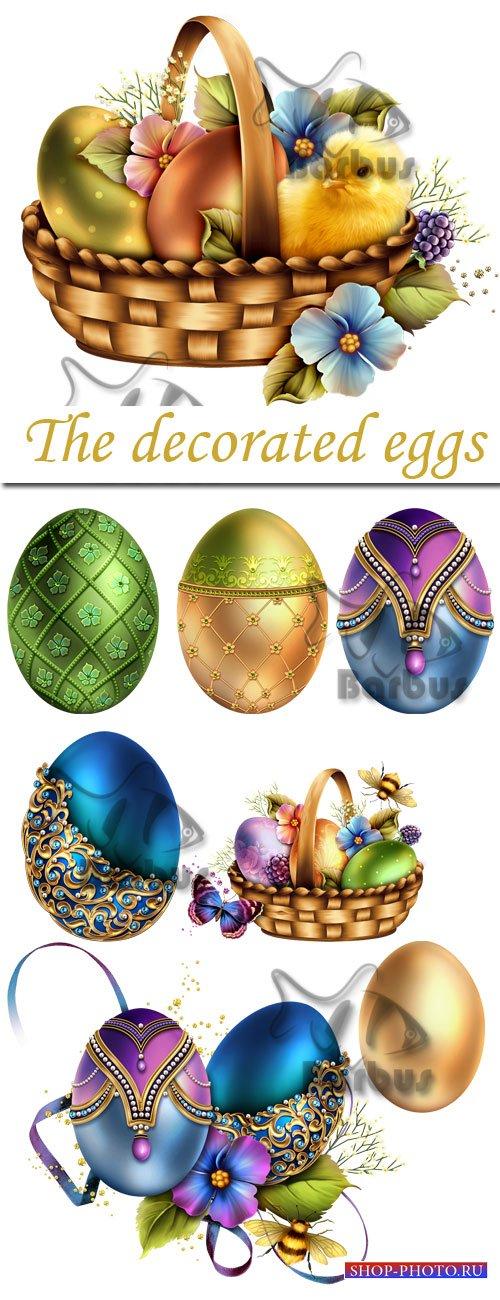 The decorated eggs / Декорированые пасхальные яйца и пасхальная корзина