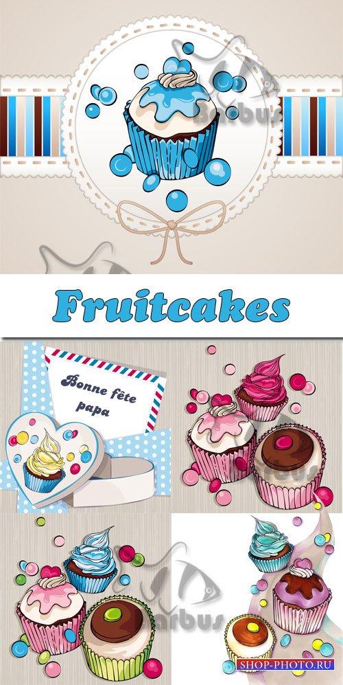Fruitcakes / Пирожные и кексы - Vector stok