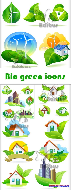 Bio green icons / Зеленые экологические иконки - Vector stock
