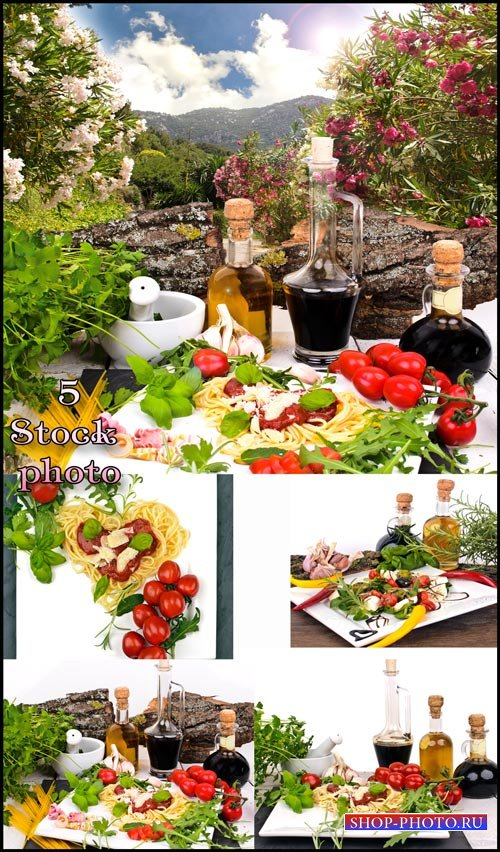 Масло, соус, овощи, макароны, зелень - растровый клипарт