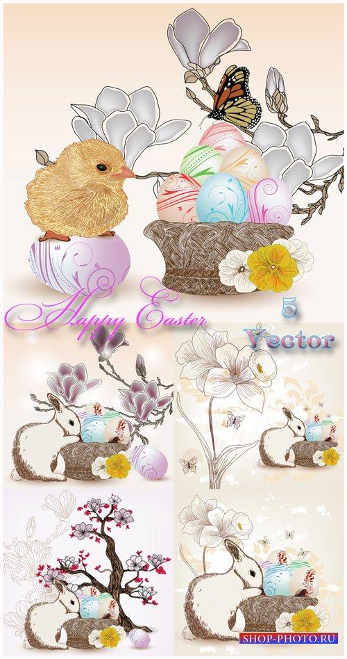 Пасха, пасхальный кролик, цыпленок, пасхальные яйца, бабочки, цветы - векто ...