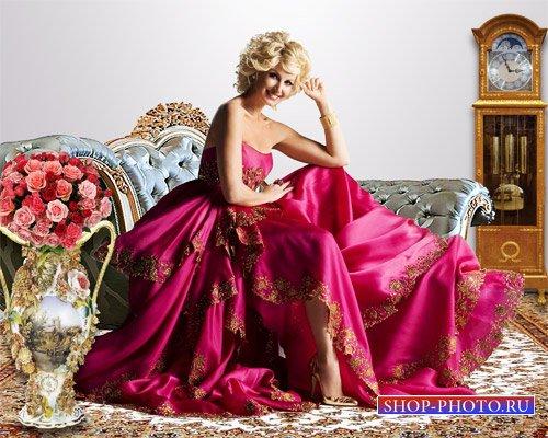 Шаблон женский - Девушка в алом платье
