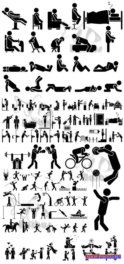 Pictograms of working people 4 / Пиктограммы работающих человечков 4 - Vect ...