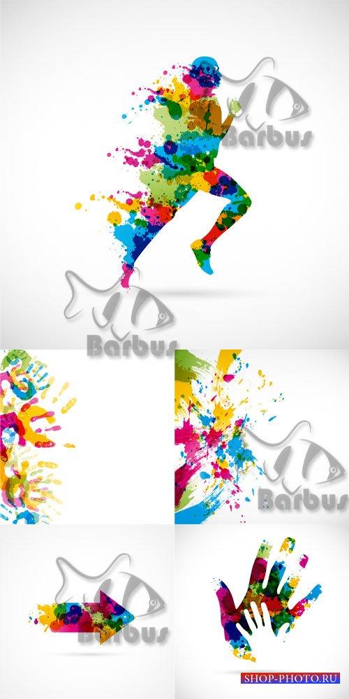 Logo from paint splashes / Логотипы и абстракции из брызг красок