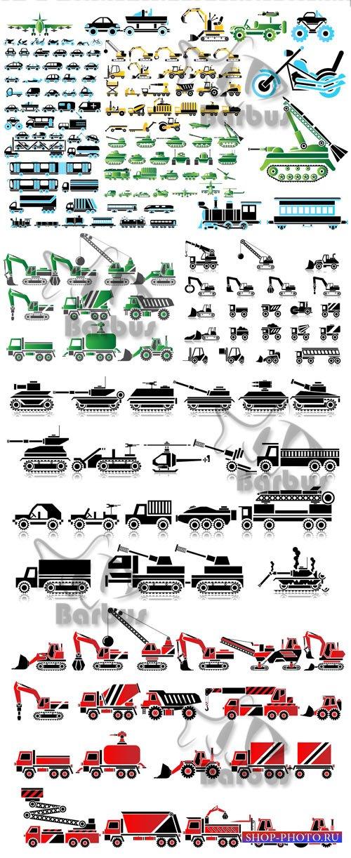 Icons work and war vehicles / Пиктограммы военной и строительной техники