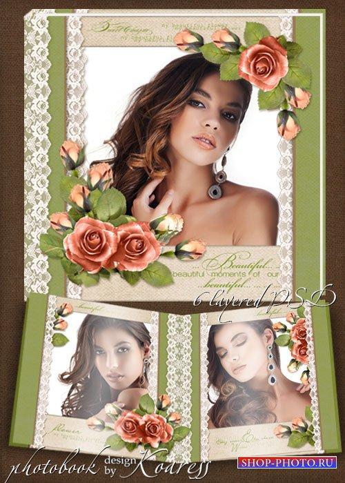 Шаблон романтической винтажной фотокниги для фотошопа - Очаровательные розы ...