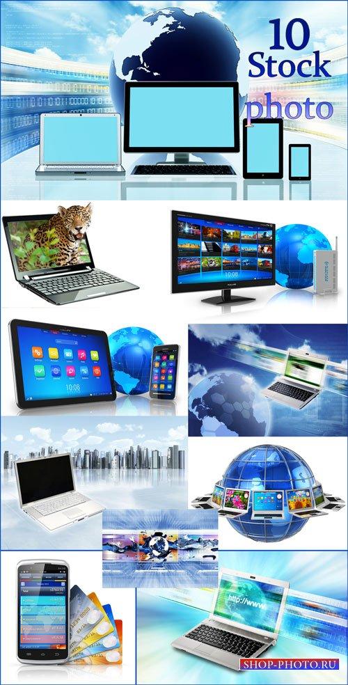 Ноутбук, смартфон, интернет, современные технологии - растровый клипарт