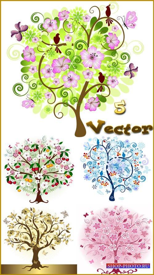 Деревья, времена года, зима, лето, весна и осень - векторный клипарт