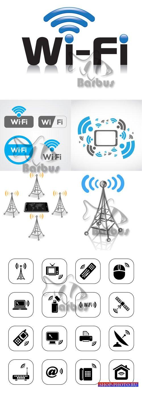 Wireless technology Wi Fi / Беспроводные технологии Wi Fi - Vector stock