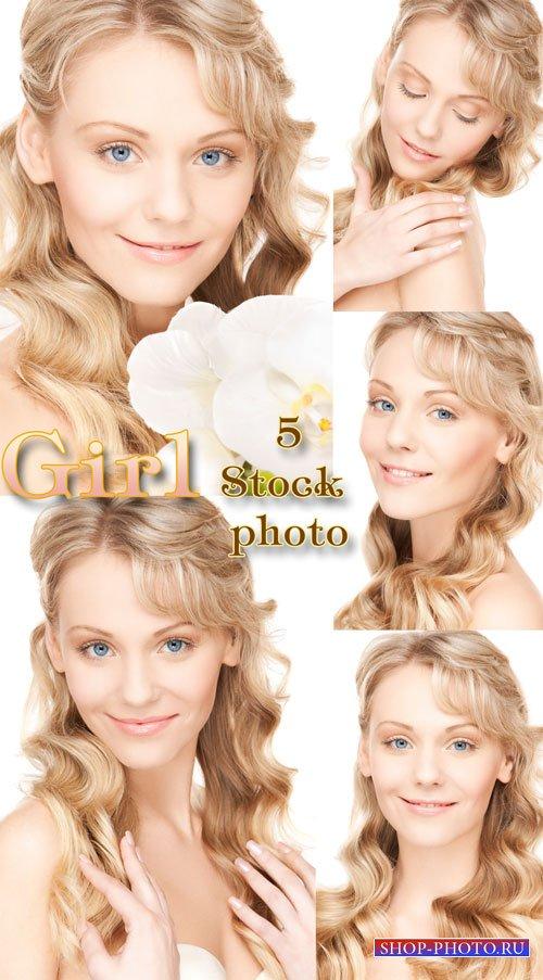 Девушка с волнистыми волосами - растровый клипарт