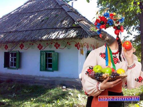 Шаблон женский - С венком и вышиванке в селе