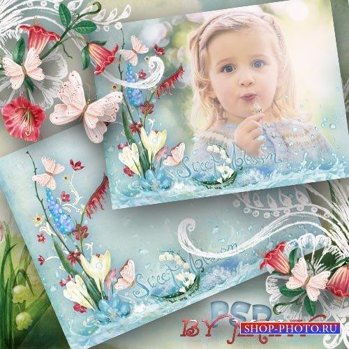 Рамка для фотошопа - Цветы и родничек