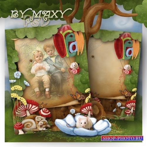 Фотошоп рамка для детей - Спящий кот и маленькая мышка