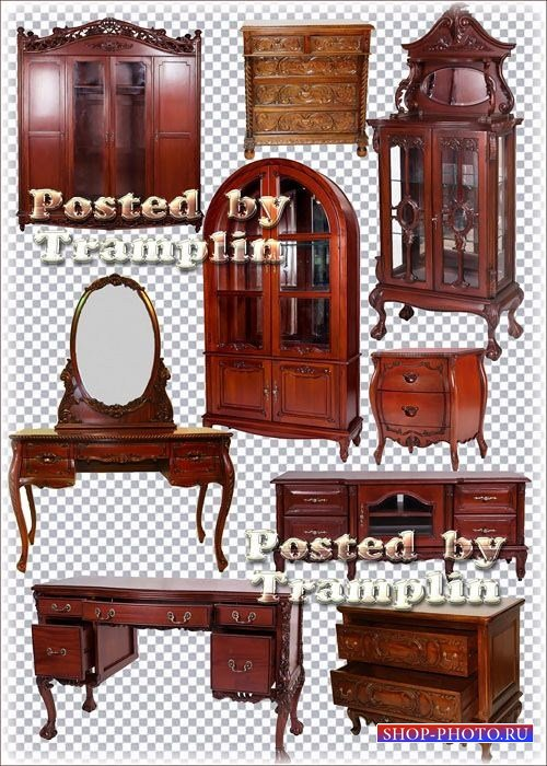Клипарт – Деревянные резные столы, комоды и шкафы