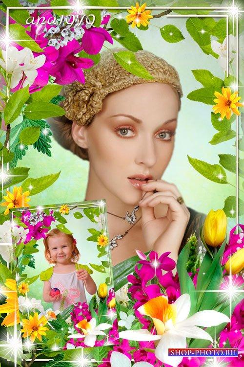 Рамка для фотошопа - Весенних красок волшебство