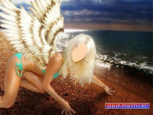 Женский шаблон для фотошопа - Девушка с крыльями