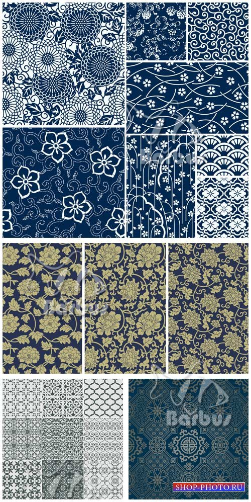 Seamless textures with flowers and patterns / Бесшовные текстуры с японским ...