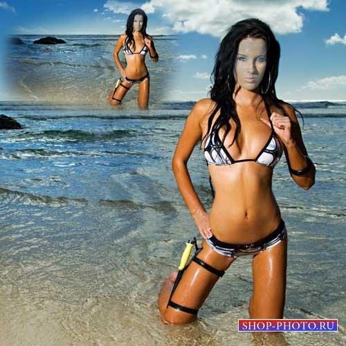Шаблон для фотошоп - Брюнетка на лазурном берегу