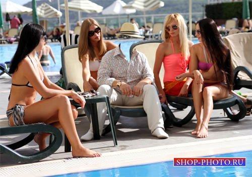 Шаблон psd - Мужчина с четырьмя девчонками