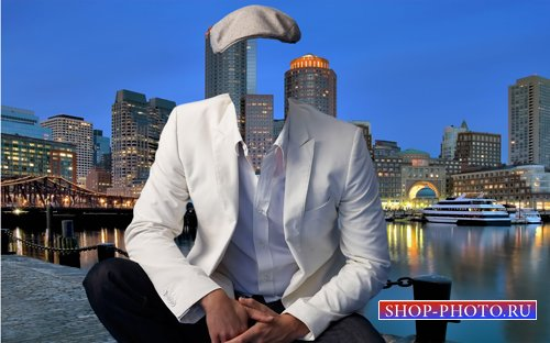 Шаблон для фотошопа  - Мужчина в кепке