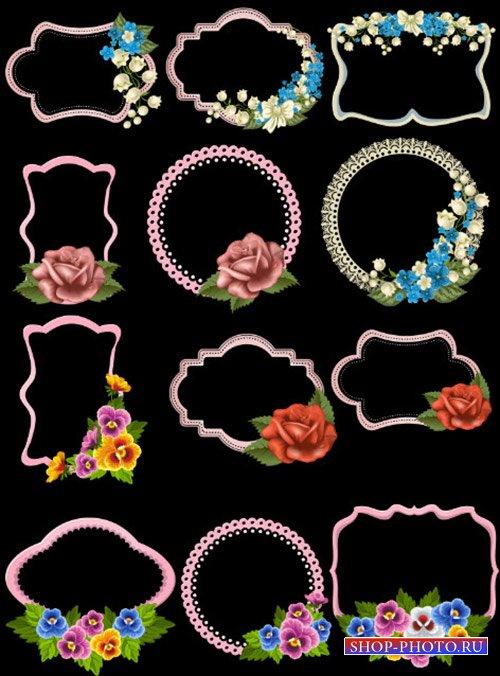 Клипарт PSD - рамки вырезы с красивыми узорами и цветами на прозрачном фоне