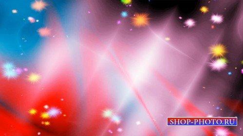 Разноцветный фоновый футаж с летающими огоньками
