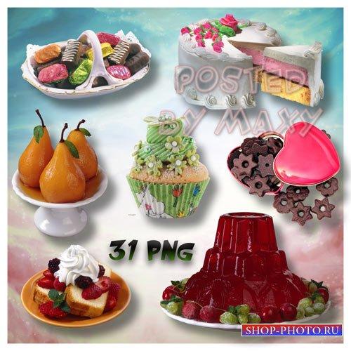 Клипарты со сладостями для фотошопа - Красивые десерты