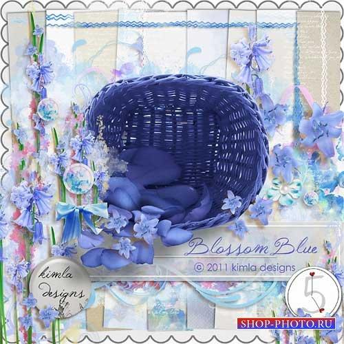 Цветочный скрап-набор в голубых тонах - Голубой цветок