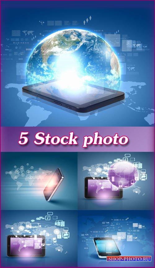 Современные технологии, смартфон, планшет, всемирная сеть интернет - растро ...