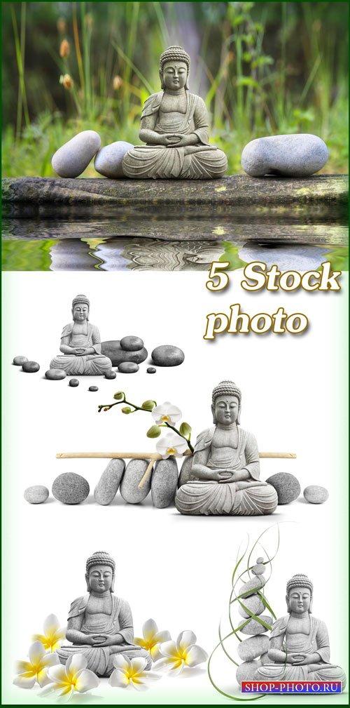 Будда, цветы франжипани - растровый клипарт