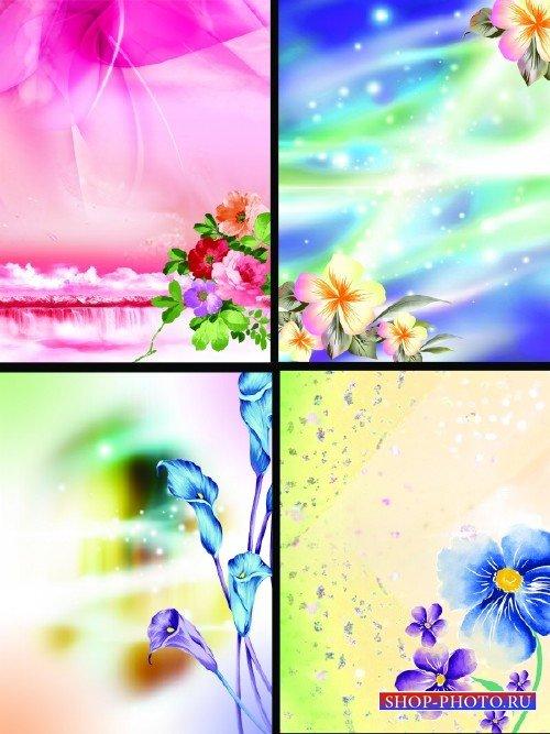Красивые многослойные цветочные фоны