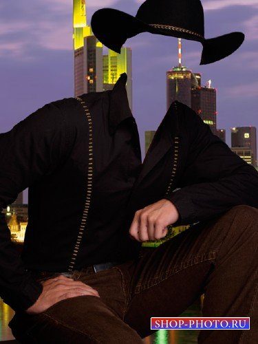 Шаблон для фотошопа  - Мужчина в шляпе