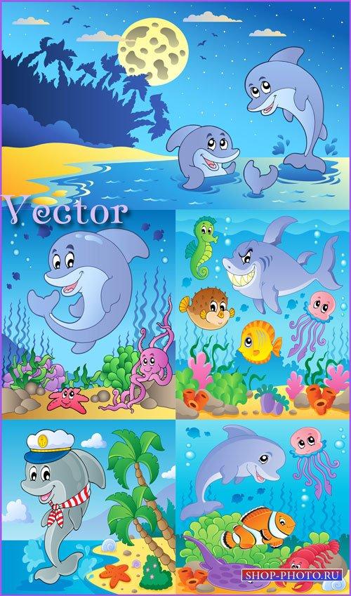Морские фоны, дельфины, акула, рыбки, осьминог, подводный мир - векторный к ...