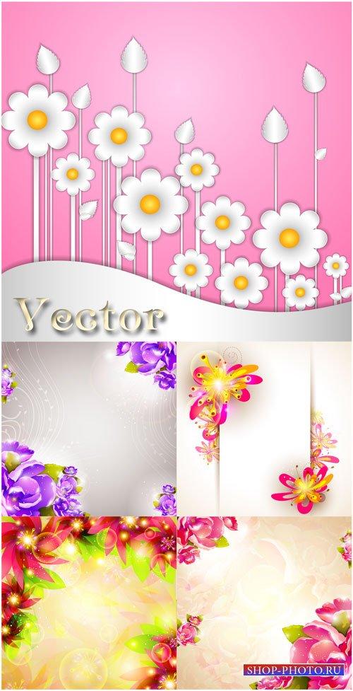 Векторные фоны, фоны с цветами, цветочные фоны