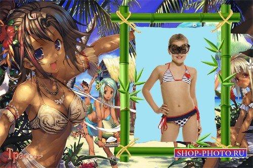Фоторамочка пляжная для девочки - Море, солнце, песок