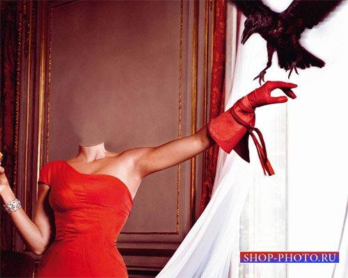 Шаблон для фотомонтажа - В красивом платье с вороном