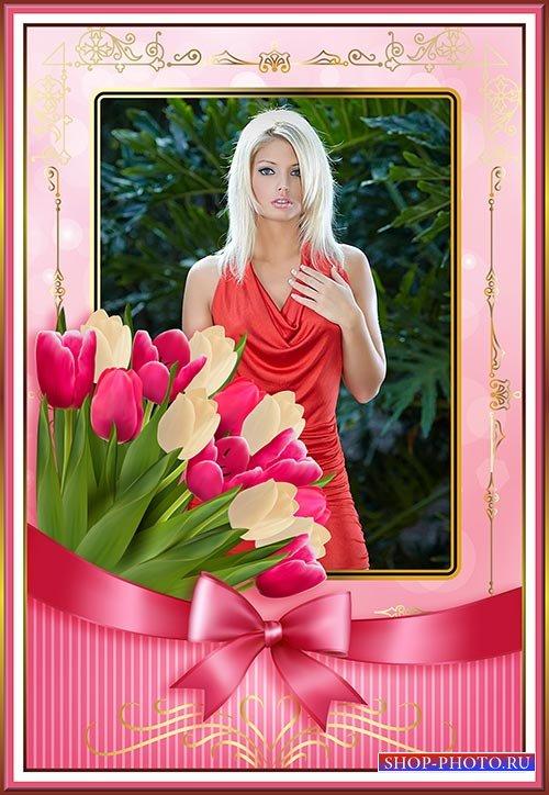 Многослойная фотошоп рамка с тюльпанами и бантом