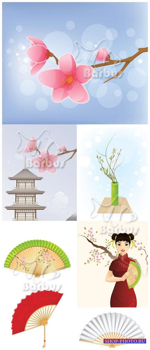 Tenderness of Japan / Нежность Японии - Цветы сакуры, веера, пагода