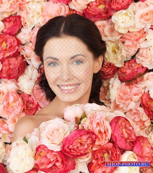 Шаблон женский - Девушка в розах