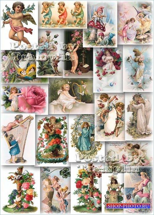 Викторианские Открытки с цветами и  изображениями Ангелочков, Эльфов и Гном ...