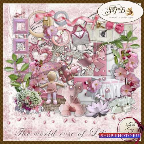 Нежно-розовый скрап-набор для девочек - Розовый мир