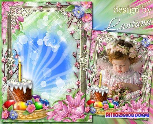 Пасхальная рамочка - Скатерть белая, свеча, аромат от кулича