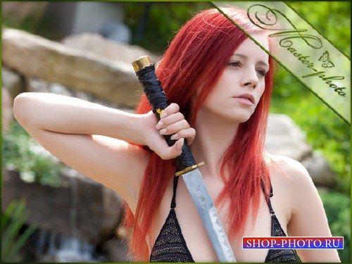 Женский шаблон для фотошопа - Принцесса мечей