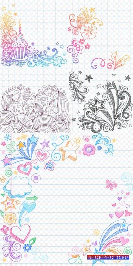 Клипарт формата PSD - Красивые отрисованные узоры на тетрадных листах фоны  ...