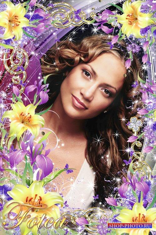 Цветочная рамочка для фото - Ирисы и лилии для девушки