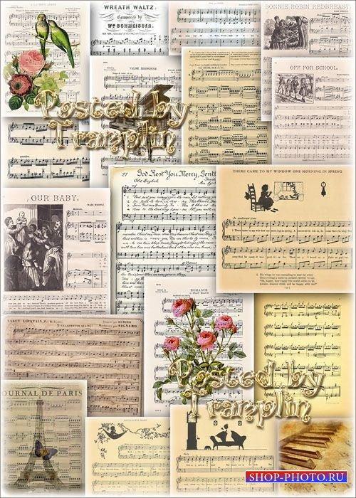 Отрисованные Музыкальные фоны – Нотные листы